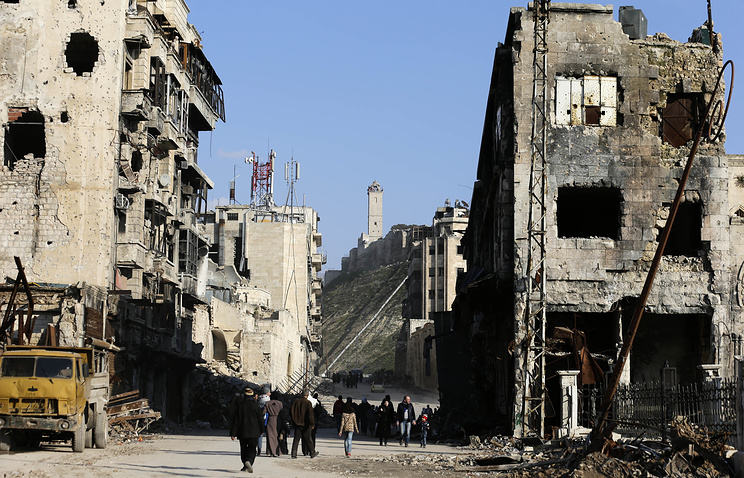Damaged buildings in Aleppo, Syria