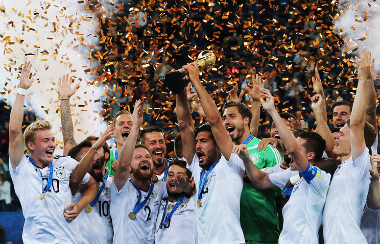 German football team after winning 2017 FIFA Confederations Cup final match against Chile at St Petersburg Arena Stadium