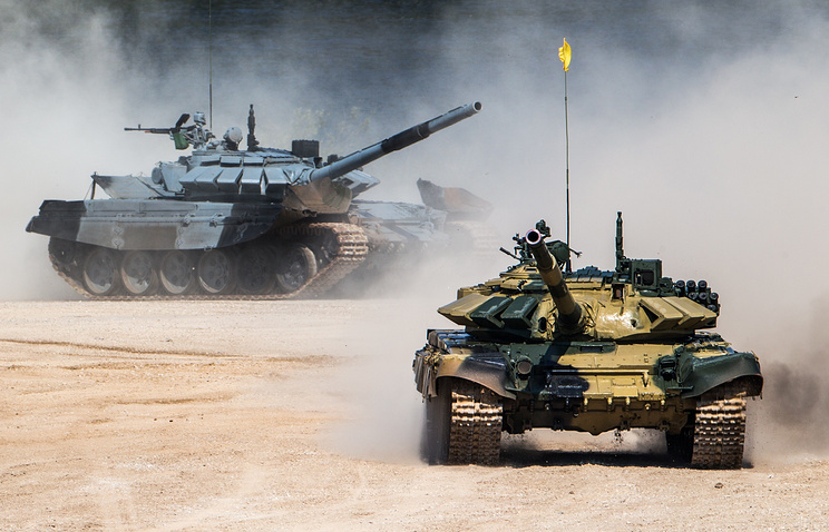 Serbian and Russian tanks taking part in Army Games