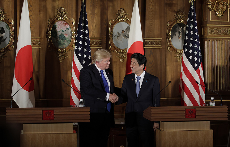 US President Donald Trump  and Japan's Prime Minister Shinzo Abe