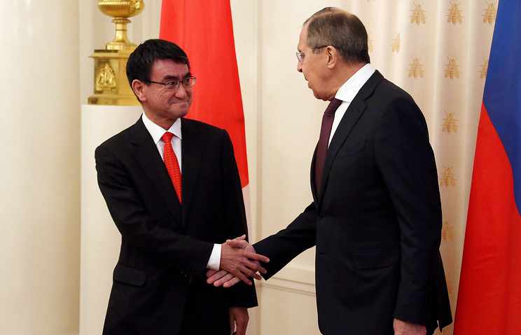 Japanese Foreign Minister Taro Kono and Russia's top diplomat Sergey Lavrov
