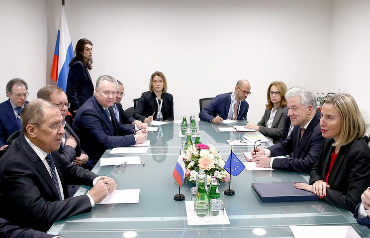 Russian Foreign Minister Sergey Lavrov and European Union's High Representative for Foreign Affairs and Security Policy Federica Mogherini seen at a meeting in Milan