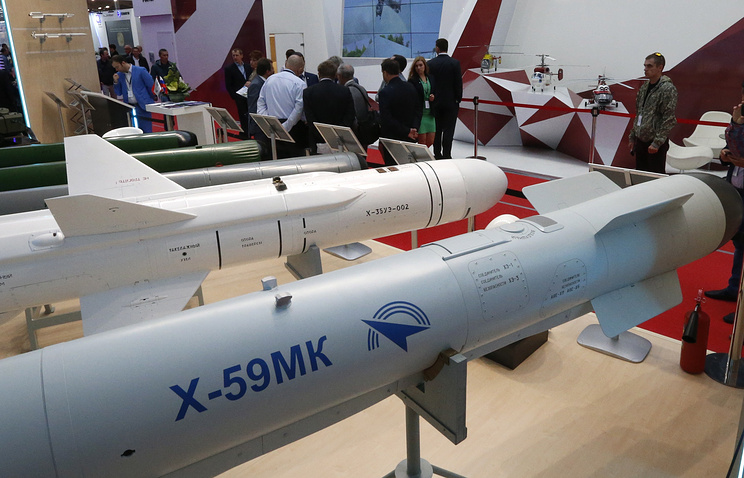 Cruise missiles on display at the Tactical Missiles Corporation stand