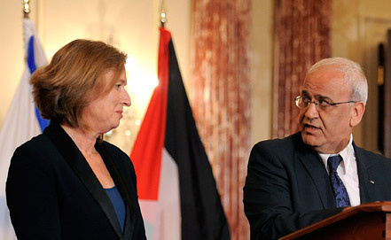 Tzipi Livni and Saeb Erekat. Photo EPA/ITAR-TASS