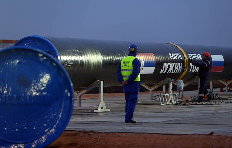 Steel pipe before the ceremony for the construction of the South Stream gas pipeline in a field north of Belgrade