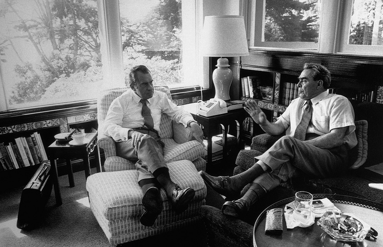 Richard Nixon meets with Premier Brezhnev in the library of the Nixon home at San Clemente, California