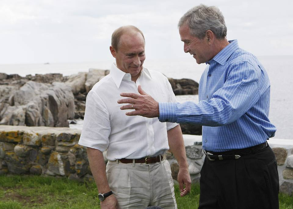 George W. Bush Bush and Vladimir Putin at the Bush family compound on Walker's Point in Kennebunkport, 2007 AP Photo/Gerald Herbert