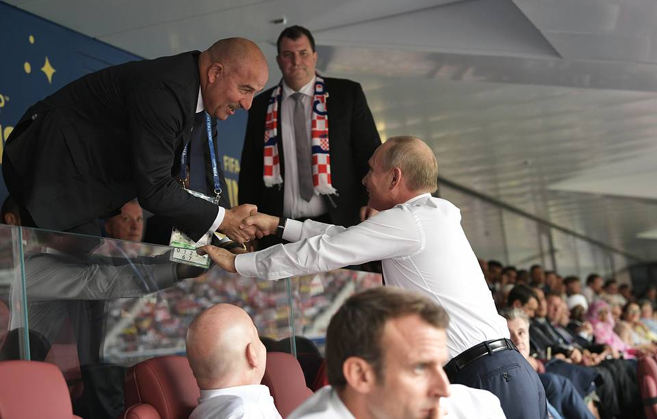 Russia's national team head coach Stanislav Cherchesov and Russia's president Vladimir Putin at the final match of 2018 FIFA World Cup Alexei Nikolsky/Russian Presidential Press and Information Office/TASS
