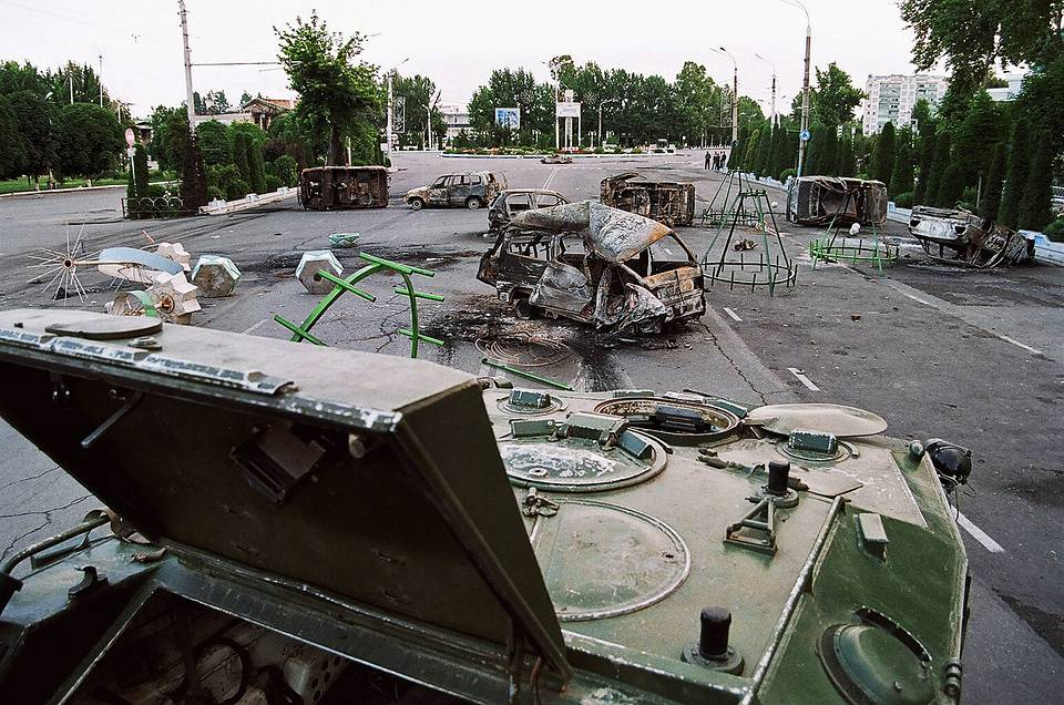 Ruined military vehicles in Andijan after the end of the fighting, 2005 Ali Vali/TASS