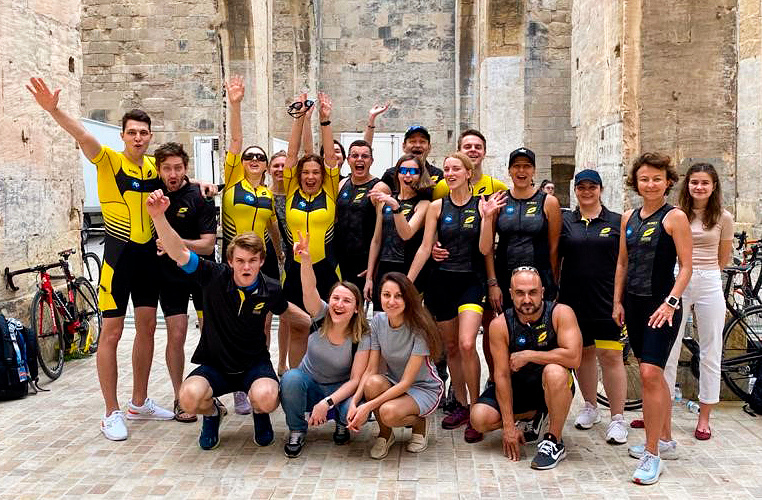 With RTP Global employees during the 2019 Super League Triathlon Malta Personal archive of Leonid Boguslavsky